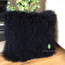 BLACK 40x40CM GENUINE MONGOLIAN SHEEPSKIN LONG LAMB WOOL FUR CUSHION COVER