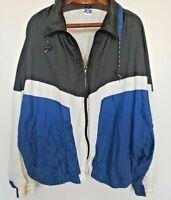 Vintage 90s Pro Spirit Full Zip Windbreaker Jacket Size XXL 2XL Blue Color Block