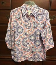 Chico's Effortless Danise Sunburst Button-Down Shirt Size 0 (4/6 S) NWT