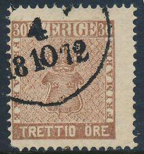 Sweden Scott 11/Facit 11f, 30ö pale brown Vapentyp, Fine Used