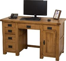 Cotswold Solid Oak Rustic Wood PC Computer Desk Home Workstation Furniture