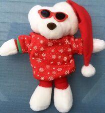 "Christmas White Bear Stuffed Animal Sunglasses Snowflakes Holiday Cool 11 """