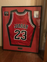 Michael Jordan authenticated signed Jersey. Framed w hologram & Bull's emblem