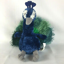 Aurora Peacock Bird Blue Green Gray Shaggy Plush Stuffed Animal Toy 9 In Sitting