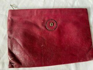 "Vintage 1980's Etienne Aigner Burgundy Leather Make Up Pouch w/ Zipper 7""WX4""H"