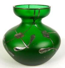 Jugendstil Vase Harrach um 1900 Silber Overlay Mistel