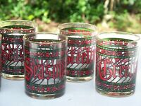 "Vintage Set of 8 Houze Cera ""Seasons Greetings"" Gold Rim Christmas Glassware"