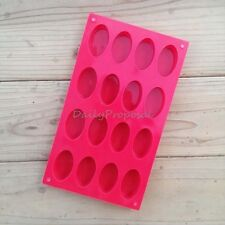 16 Cavity Oval Shape Soap Bake Mold Silicone Mould Tray Homemade Craft DIY NEW