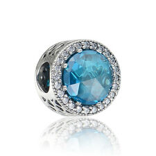 GENUINE STERLING SILVER EXQUISITE BLUE CUBIC ZIRCONIA CHARM BEAD FOR BRACELET