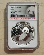 NGC MS70 China 2020 30g Silver Regular Panda Coin (First Day of Issue)