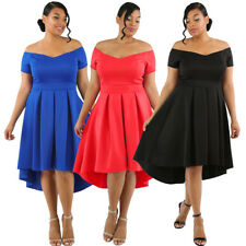 Formal Evening Party Plus Size Off Shoulder Swing High Low Pleated Skater Dress