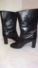 CHLOE Black Mid-Calf Black Leather Boots Sz 8.5