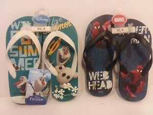 """2 Pair DISNEY'S FROZEN OLAF & SPIDER MAN Sandals/Flip-Flops Size XL 4- 8 1/2"""""""