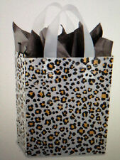 """X50 Preprinted Frosty Gift Bags Leopard Print 5 3/4 x 3 1/4 x 8 3/ """" 4 MIL THICK"""