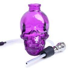 3.4''H Skull Shaped Glass Bong Water Purple Smoking Hookah Bubbler Cigar Pipes
