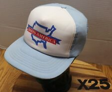 """VINTAGE """"BOOTS AMERICA"""" TRUCKERS HAT LIGHT BLUE & WHITE SNAPBACK VGC X25"""