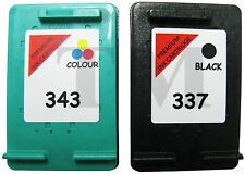 Remanufactured 337 Black & 343 Colour Ink Cartridges Combo Fit Hp Officejet H470
