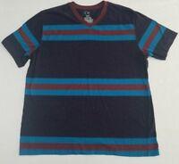 Men's OP Ocean Pacific V Neck Blue Rust Red Striped T-Shirt XL 60/40 Blend y2