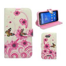 Hülle Für Sony Xperia E4g Etui Klapp Weiß Pink Wirbel Blume Schmetterling Cover