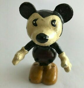 Rare Vintage Lead Painted Mickey Mouse mid 20th century Height 8cm Weight 250g