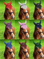 GEE TAC Crochet FLY VEIL HORSE EAR BONNET RIDING 100% BREATHABLE COTTON RUG MASK