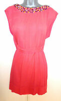 BNWT French Connection Coral Embellished Silk Evening Occasion Dress 6 NEW
