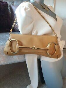 GUCCI Tom Ford Camel Beige XL Calf Leather & Gold Pochette Clutch Horsebit Bag