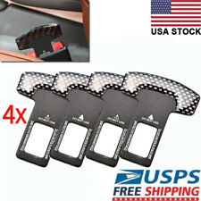 4Pcs Universal Car Safety Seat Belt Buckle Alarm Stopper Clip Carbon Fiber Clamp