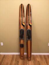 """Pair VTG Cypress Gardens Dick Pope JR Waterskiing Water Ski Wood 67"""" Set Decor"""