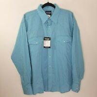 Men's Wrangler Button Down Dress Shirt Blue Relaxed Fit Long Sleeve, X-Large