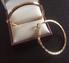 A15 Large, yellow gold filled hoop earrings. 50x2.5mm Plum UK GIFT BOXED