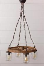 Wagon Wheel Mason jars Hanging Chandelier Pendant light