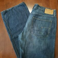 G-Star Raw 3301 Mens 36x34 Blue Denim Jeans Straight Leg Boot Cut Button Fly EUC
