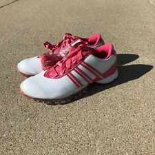 RARE WOMENS PAULA CREAMER ADIDAS GOLF Spikes PInk Breast Cancer SHOES Sz 10