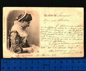 FOLKLORE - COSTUME DELLA LOMBARDIA - RARA CARTOLINA POSTALE ANNO 1899 - 24470