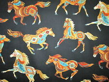 NATIVE AMERICAN HORSE TOTEM SPIRIT ANIMALS TEAL ORANGE COTTON FABRIC FQ