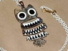 Vintage 60s 70s Articulated Copper Brass Black White Enamel Owl Pendant Necklace