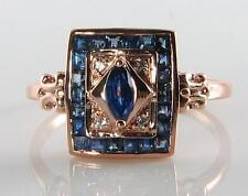 CLASSIC 9K 9CT ROSE GOLD Sri Lankan BLUE SAPPHIRE & DIAMOND ART DECO INS RING