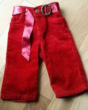 Ralph lauren girls 9m red pants corduroy sash belt Christmas