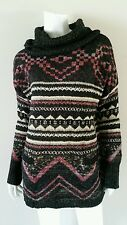 LUCKY BRAND Black Purple Shimmer Cowl Neck Tunic Sweater - size L