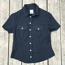 MOSCHINO CHEAP & CHIC black blouse, Short Sleeve Shirt Sz 10