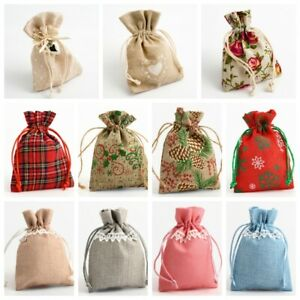 Drawstring Favour Bags. Wedding Christmas Hessian Linen Fabric Gift Bag Pouch