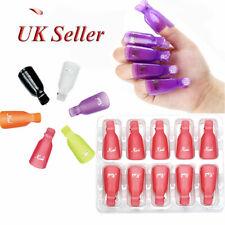 10pcs Plastic Nail Art Soak Off Clip Cap UV Gel Polish Remover Wrap Tool Sets UK