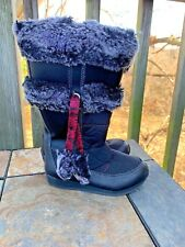 TIMBERLAND Winter Berry Tall Boots Leather Zip on Side Girls Shoes Sz 10 👣b9
