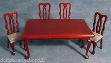 Acajou Rectangulaire Table et quatre chaises 12TH Scale Maison de Poupées Salle à manger