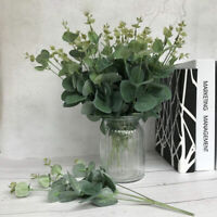 4 Forks Artificial Fake Silk Leaf Eucalyptus Green Plant Garland Home Decor