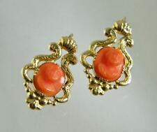 Antique Victorian Natural Coral Cameo Solid 14K Gold  Earrings