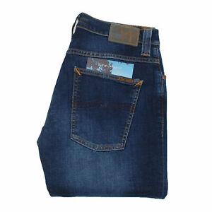 Nudie Jeans Neuf Grim Tim Crosshatch Worn en Bleu Hommes Jean En Taille 32/34