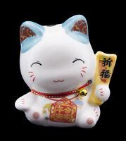 Hucha Gato Japonés 8cm Blanco Azul Cerámica Fabricado en Japón Maneki Neko 86