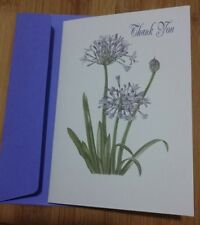 20 Thank you card notelets + envs watercolour style,linen card folded A6, blank